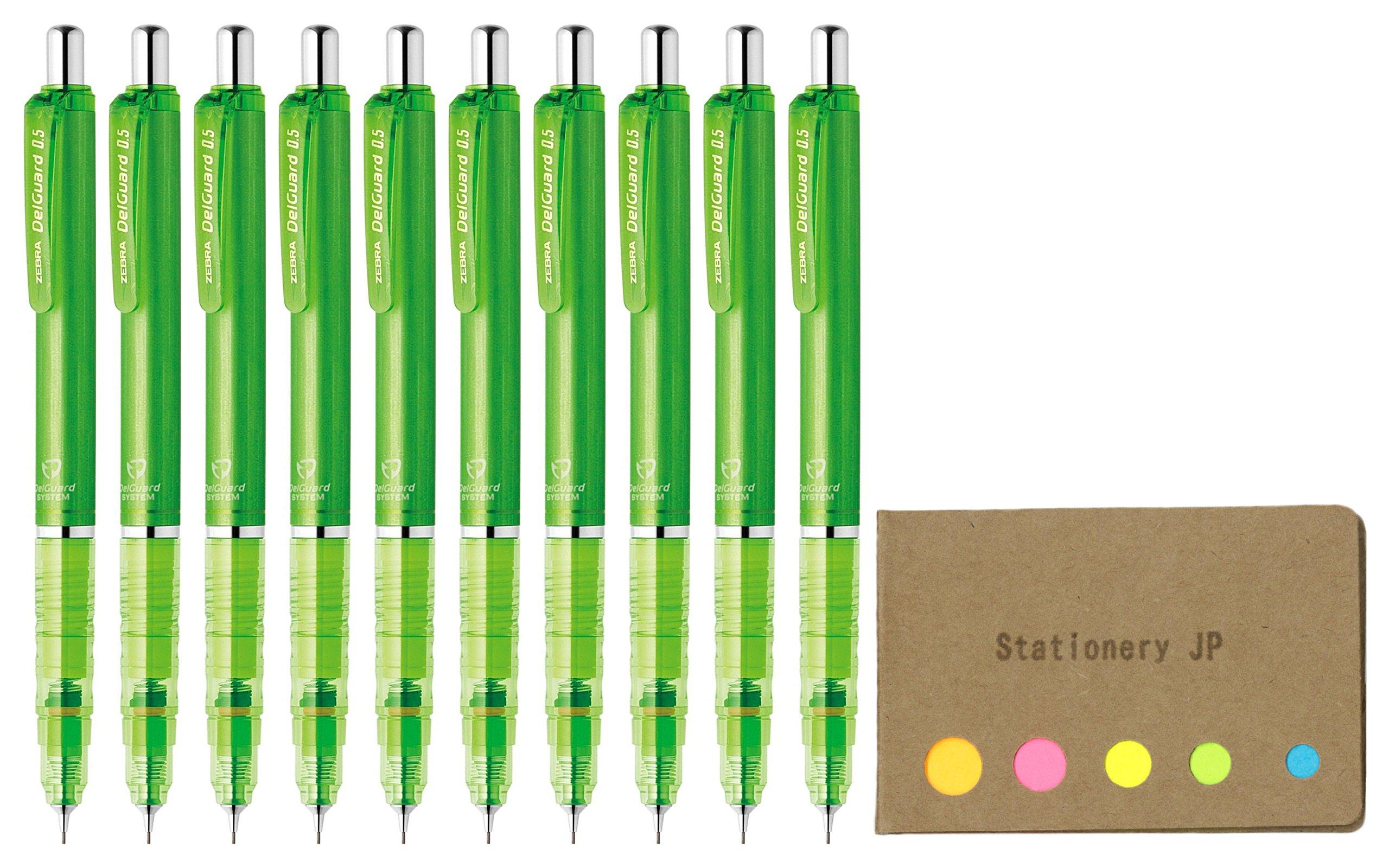 Zebra DelGuard Mechanical Pencil 0.5mm, Light Green Body, 10-pack, Sticky Notes Value Set