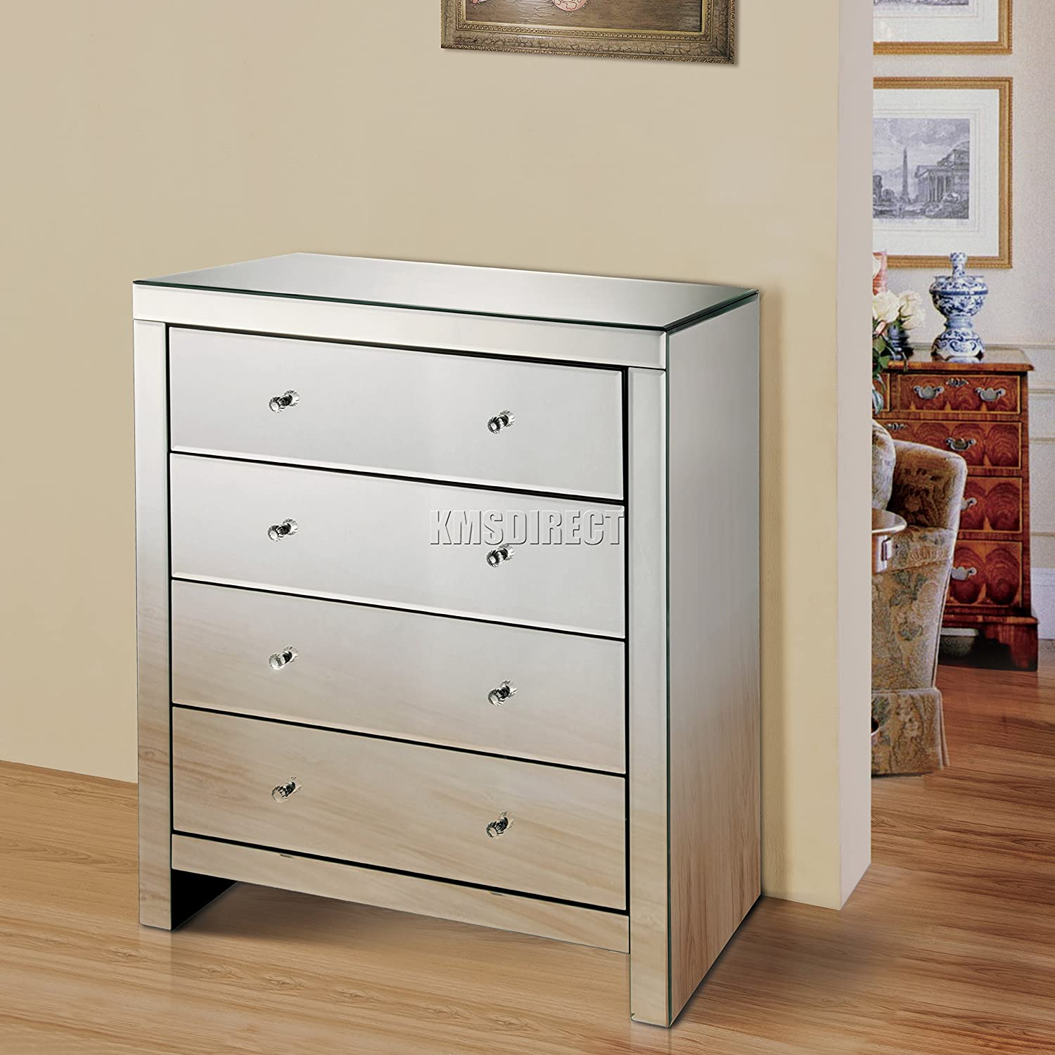 Foxhunter Westwood Mirrored Furniture Glass 4 Drawer Chest Cabinet