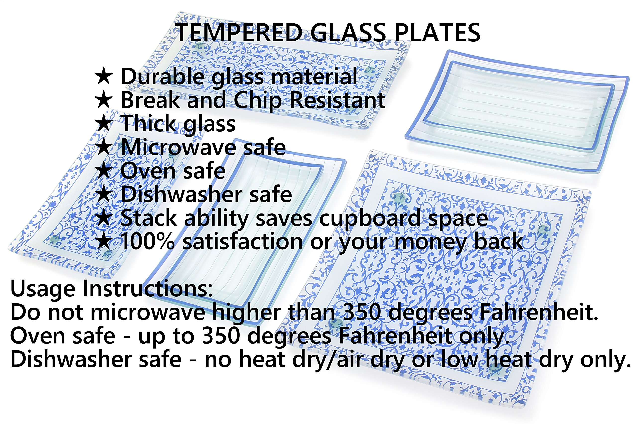 GAC Rectangular Tempered Glass Salad/Dessert Plate Set With Blue Trim, Service for 8, Break and Chip Resistant – Microwave and Oven Safe – Dishwasher Safe - Decorative Serving Plate by GAC (Image #6)