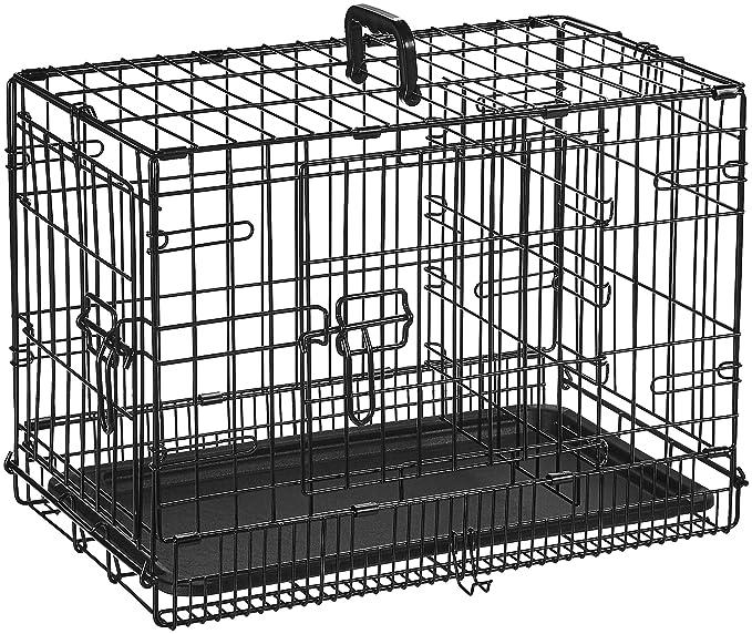 AmazonBasics - Jaula plegable de metal para mascota (dos puertas, 56 cm largo): Amazon.es: Productos para mascotas