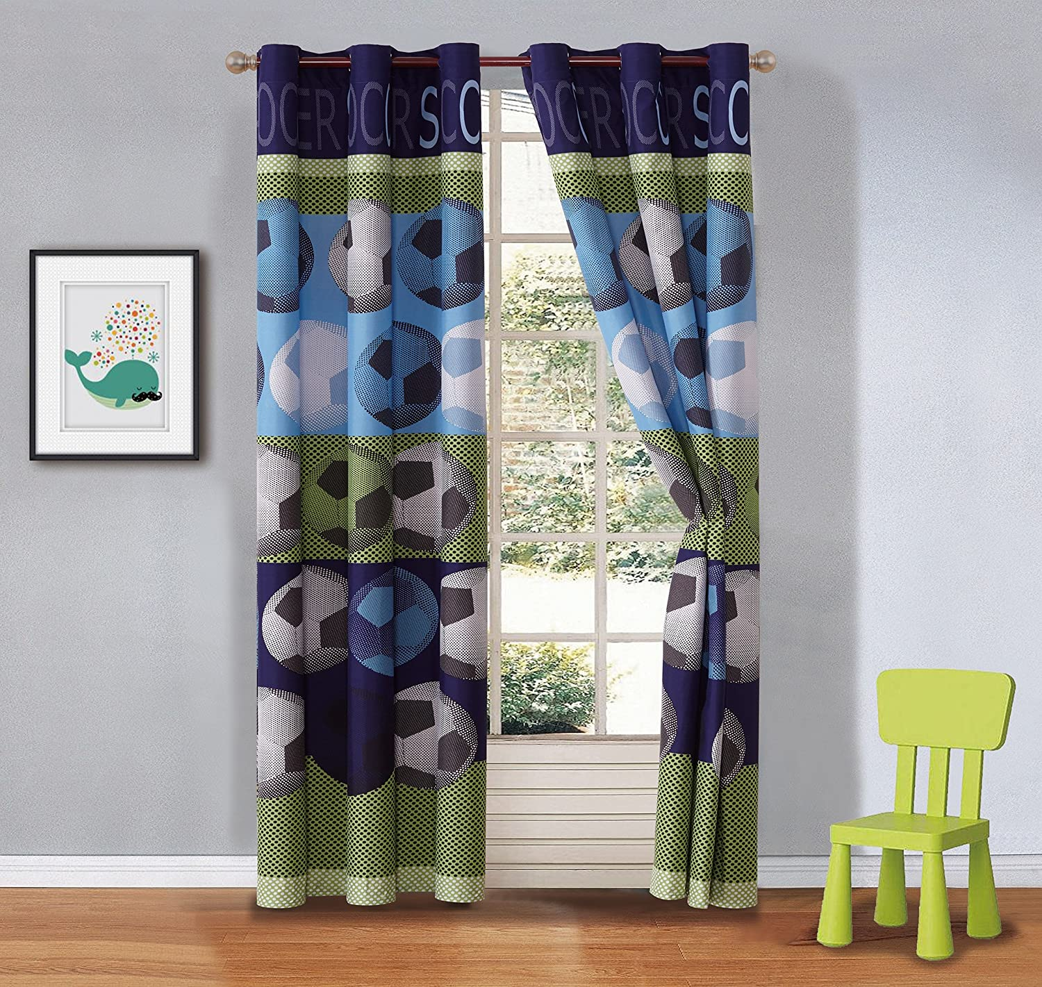 Mk Collection 2 Panel Curtain Set for Boys Room Soccer Light Blue Green Navy Blue White Black New