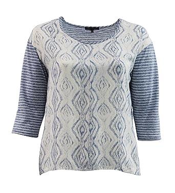 cbd48751c3 Simply Elegant - Women's Plus Size Geometric Design Top w/Striped Sleeves ( 2X)