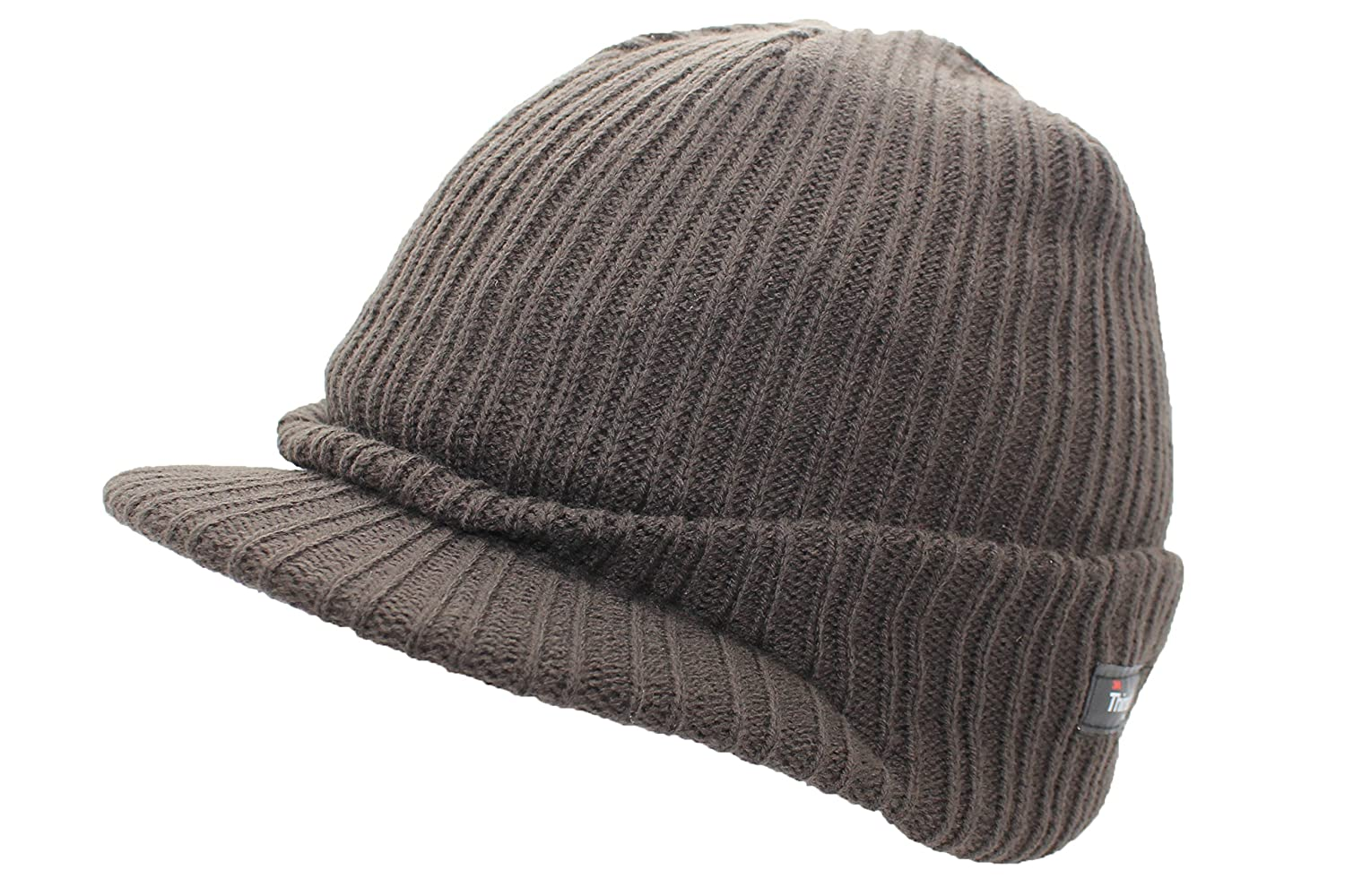 Mens Peak Beanie Hat in Black with Thinsulate Insulation 3-600-04