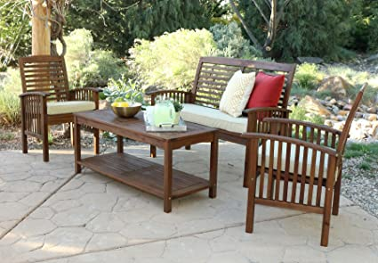 WE Furniture Solid Acacia Wood 4 Piece Patio Chat Set