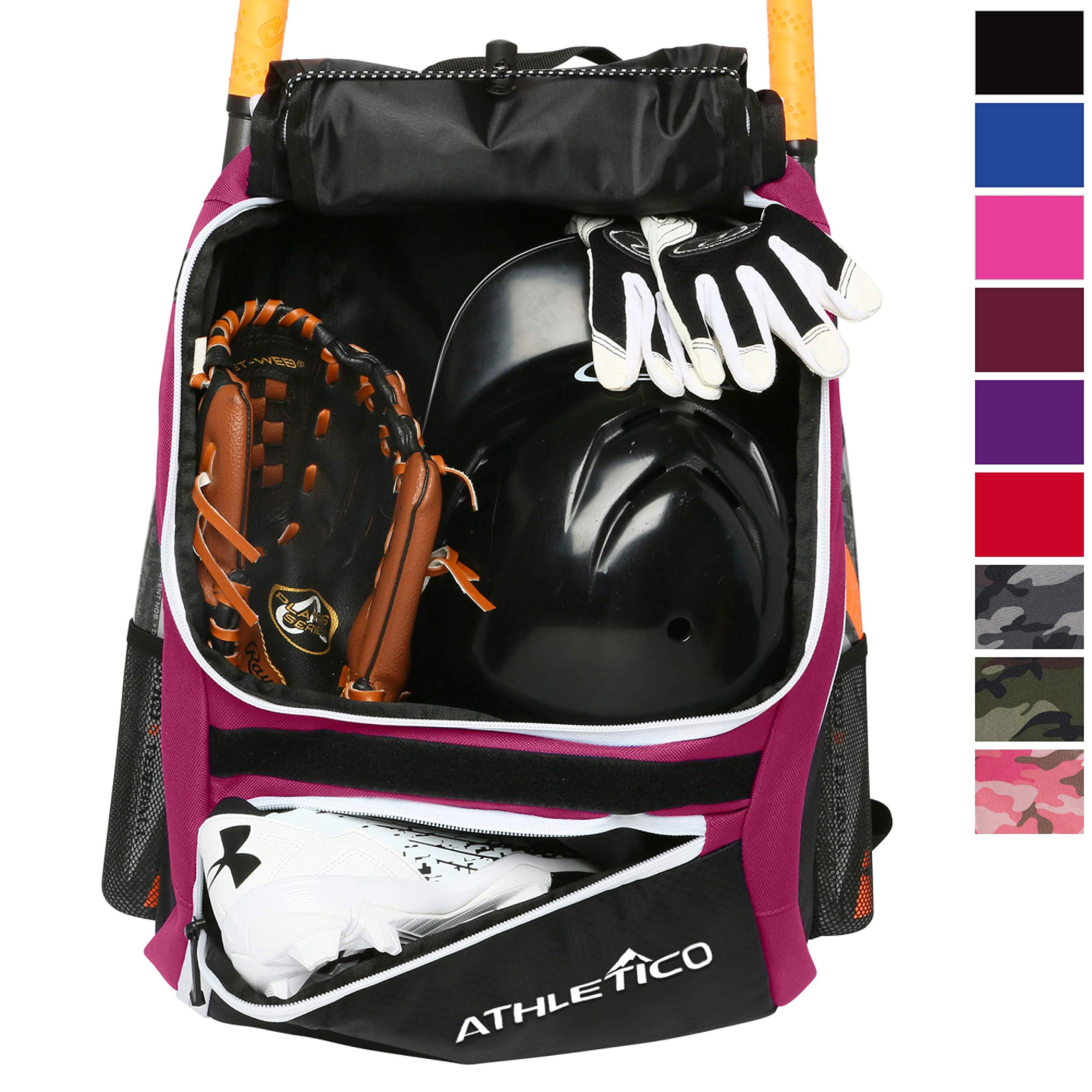 d71f7b1302b Athletico Baseball Bat Bag - Backpack for Baseball, T-Ball   Softball  Equipment   Gear for Youth and Adults   Holds Bat, Helmet, Glove, ...