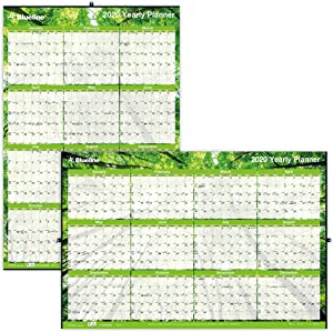 Blueline 2020 Yearly Horizontal/Vertical Wall Planner, Laminated, 24 x 36 inches, Nature (C171910-20)
