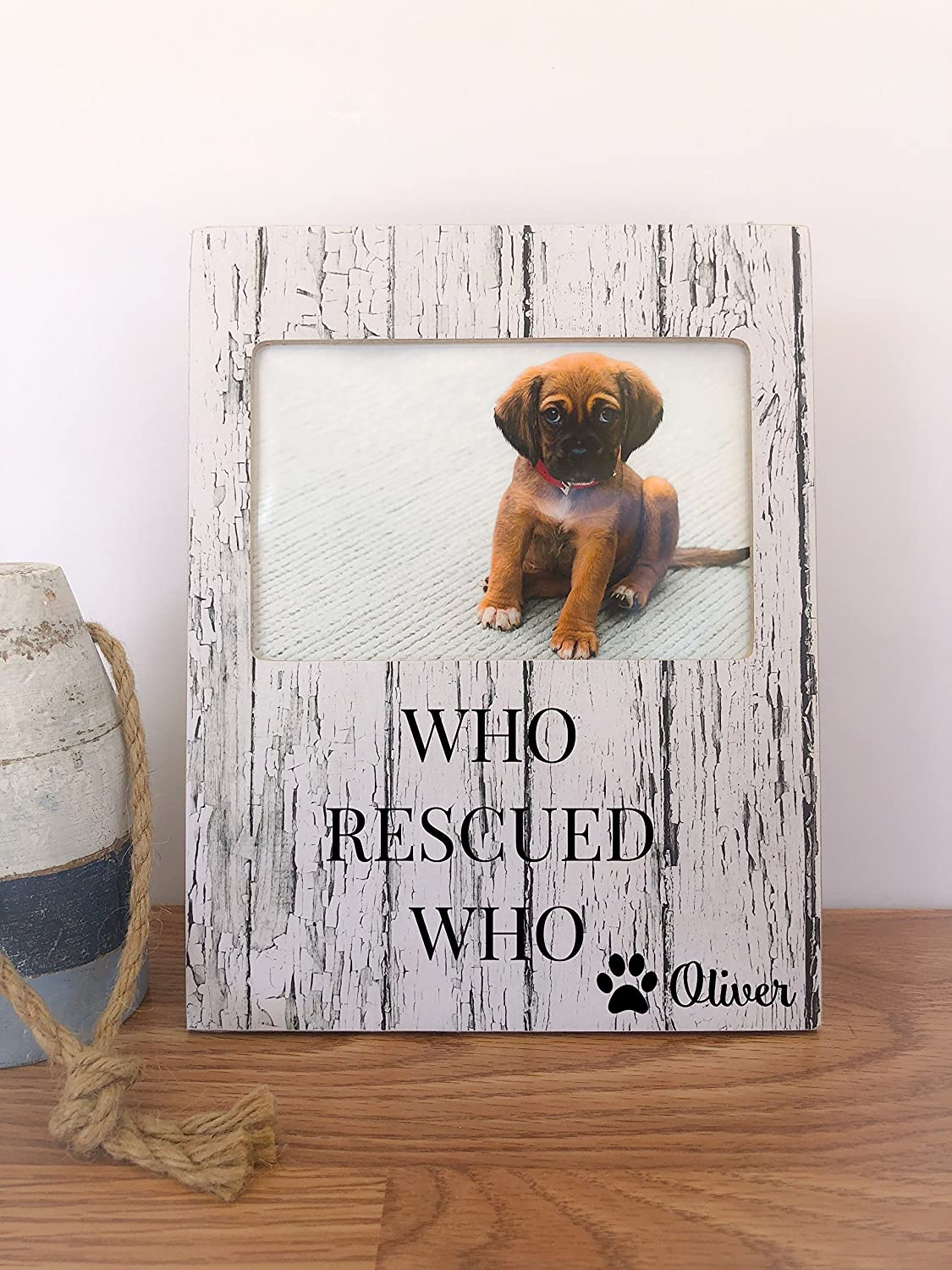 Amazoncom Dog Frame Personalized Pet Frame Who Rescued Who Best