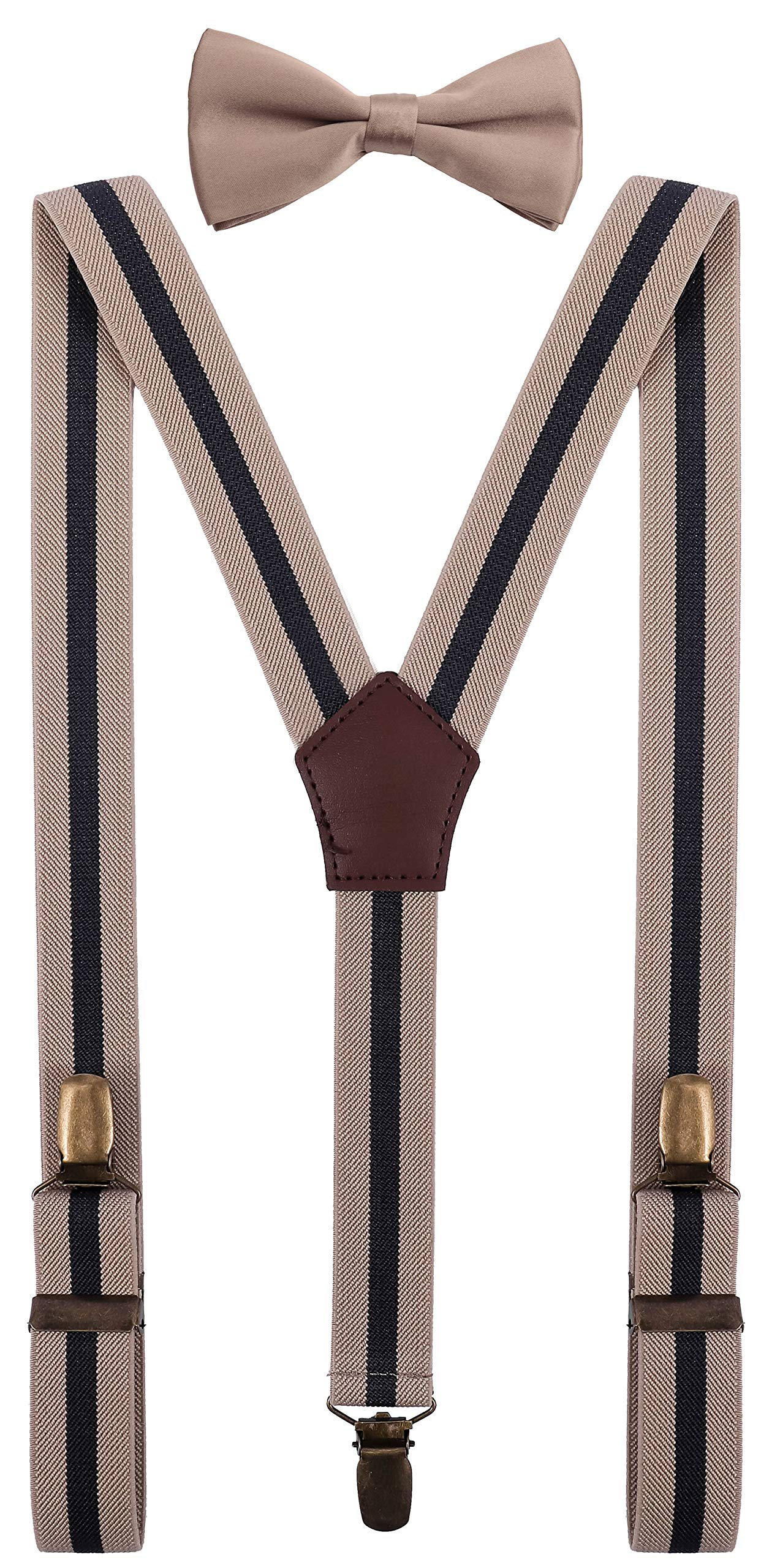 YJDS Baby Cute Suspenders Bowtie Set Adjustable Strong Clips Khaki Stripes 30''