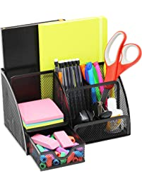 Mesh Office Desk Organizer With 3 Compartments + 3 Slots + Drawer   Can Be  Used