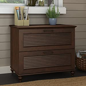 Bush Furniture Kathy Ireland Home Volcano Dusk Lateral File Cabinet, Coastal Cherry