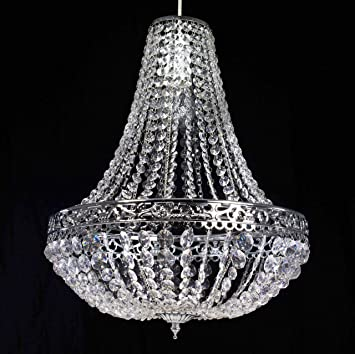 Chandelier style clear acrylic chrome ceiling light shade easy fit chandelier style clear acrylic chrome ceiling light shade easy fit pendant amazon kitchen home aloadofball Images
