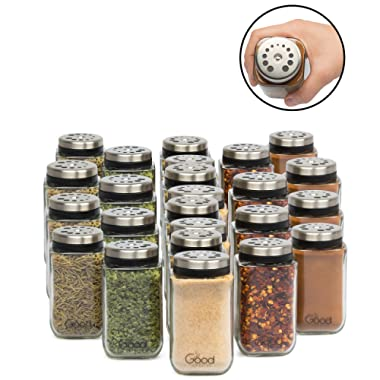 Adjustable Glass Spice Jars- Set of 24 Premium Seasoning Shaker Rub Container Tins with 6 Pouring Sizes