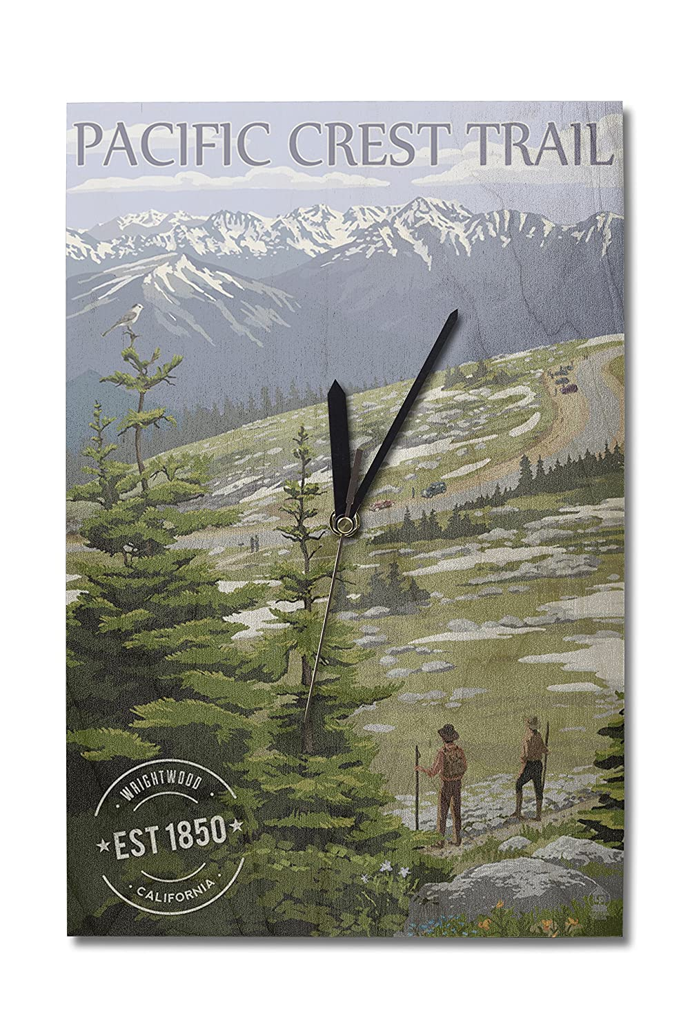 Wrightwood, California - Pacific Crest Trail and Hikers - Rubber Stamp (10x15 Wood Wall Clock, Decor Ready to Hang)