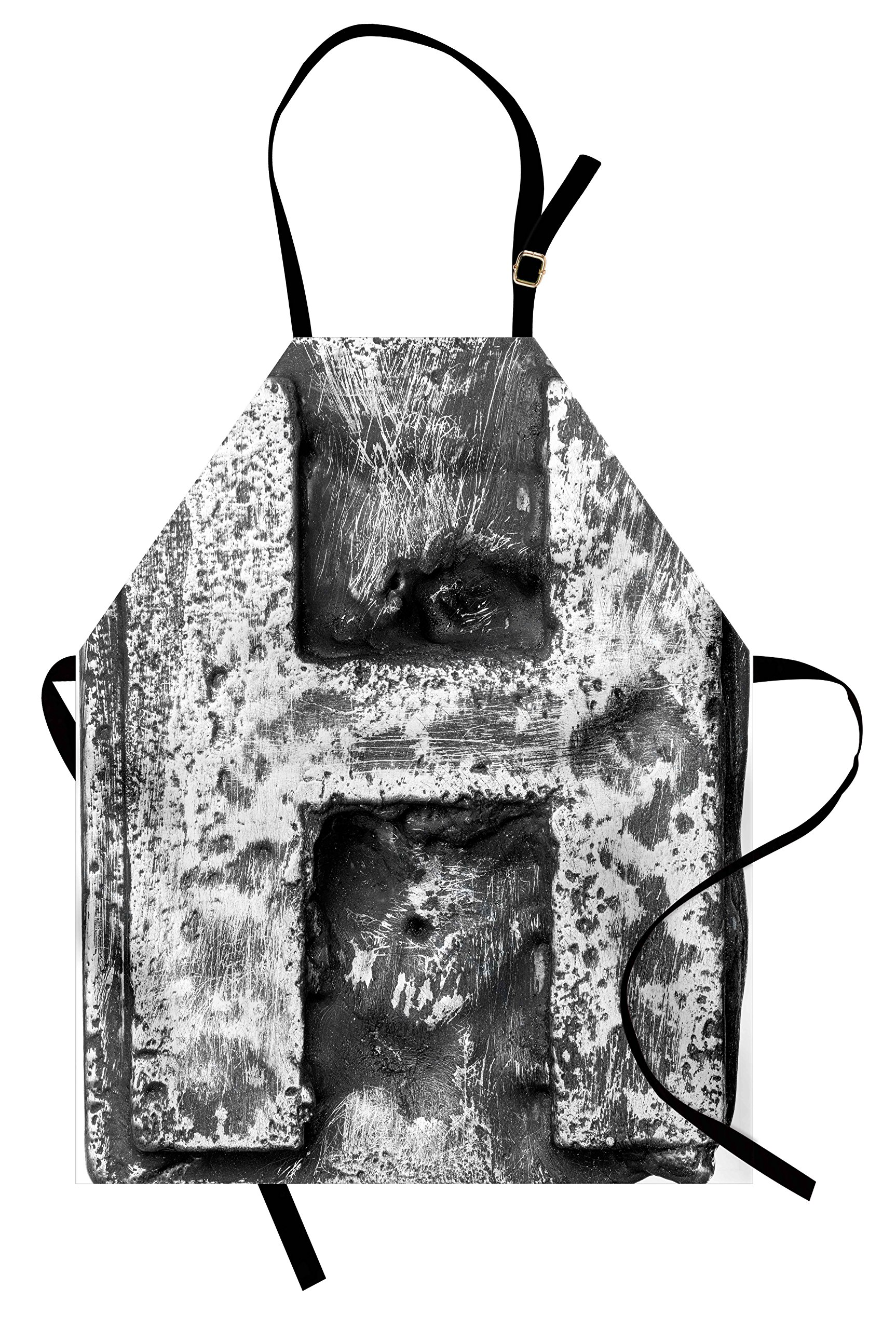 Ambesonne Letter H Apron, Victorian Stylized Capital H Font in Chrome Rock Tones Steel Look Retro Design, Unisex Kitchen Bib Apron with Adjustable Neck for Cooking Baking Gardening, Black Grey