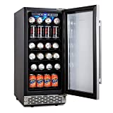 Phiestina 15 Inch Beverage Cooler Refrigerator - 96 Can Built-in or Free Standing Beverage Fridge with Glass Door for Soda Beer or Wine - Compact Drink Fridge For Home Bar or Office