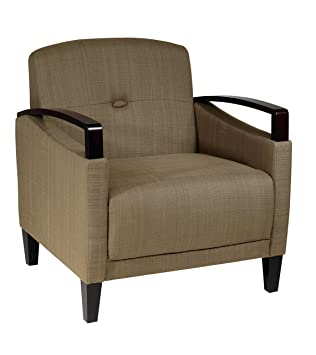 AVE SIX Main Street Accent Chair With Interlace Weave Fabric And Espresso  Finish Wood Accents,