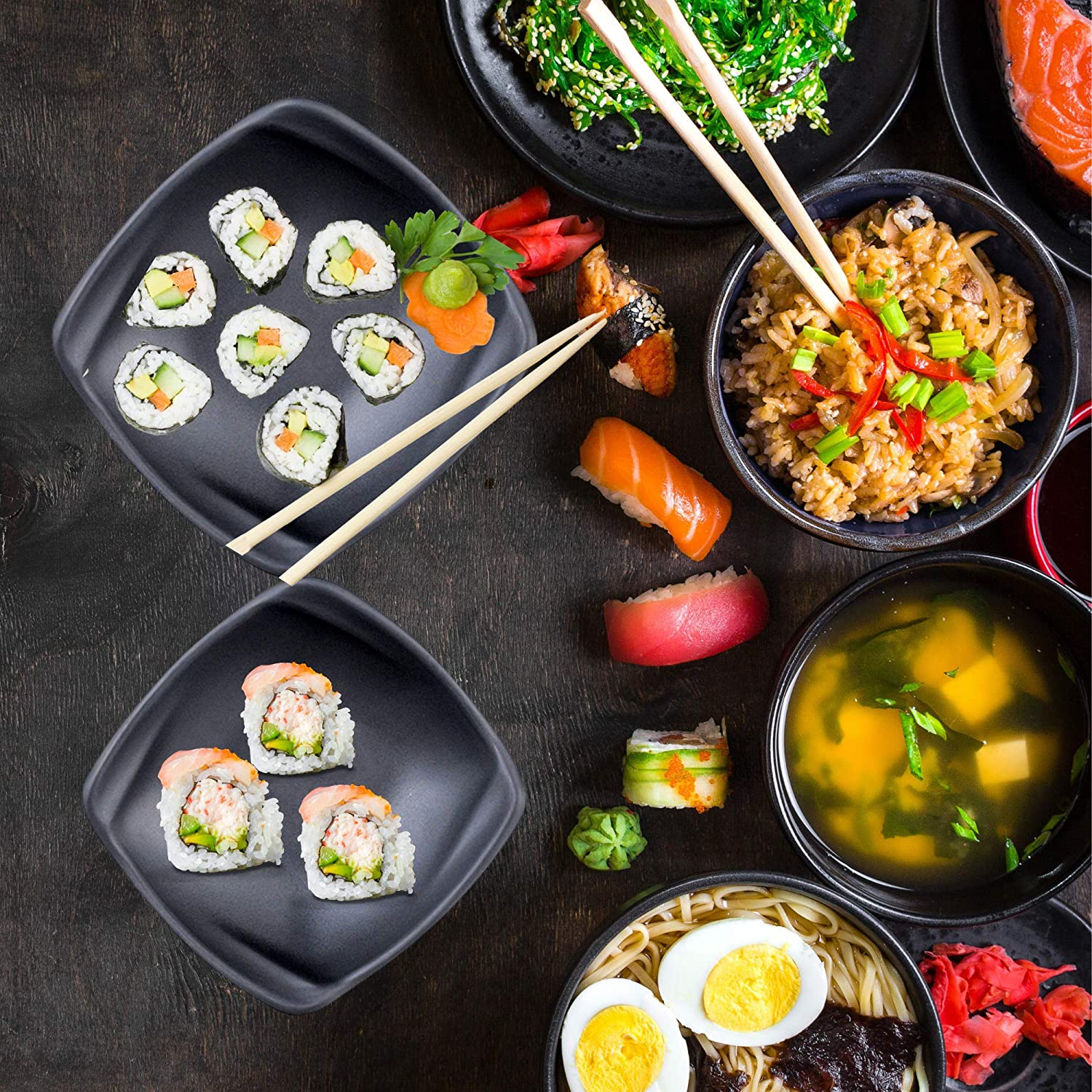 Appetizer 6.25 X 1.75 Inches Black Melamine Bowl Set of 4 Asian Cuisine Dinnerware Small Square Dish for Salad