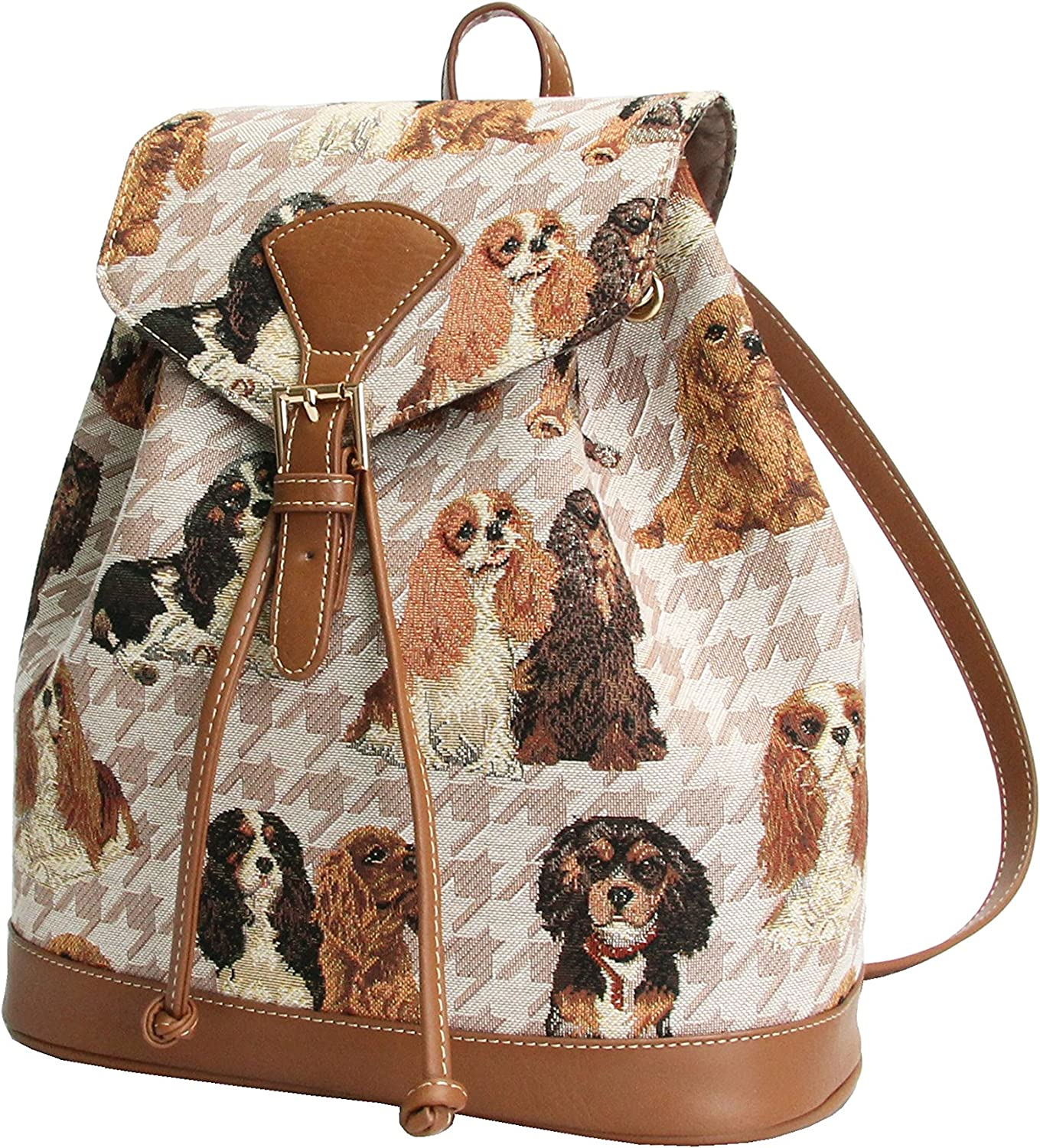 Signare Tapestry Fashion Backpack Rucksack for Women with Cavalier King Charles Spaniel Dog Design RUCK-KGCS
