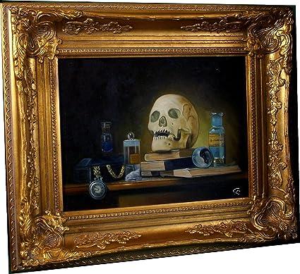 Bodegón de calavera Vanitas Tejido libros con marco pintura al óleo ...