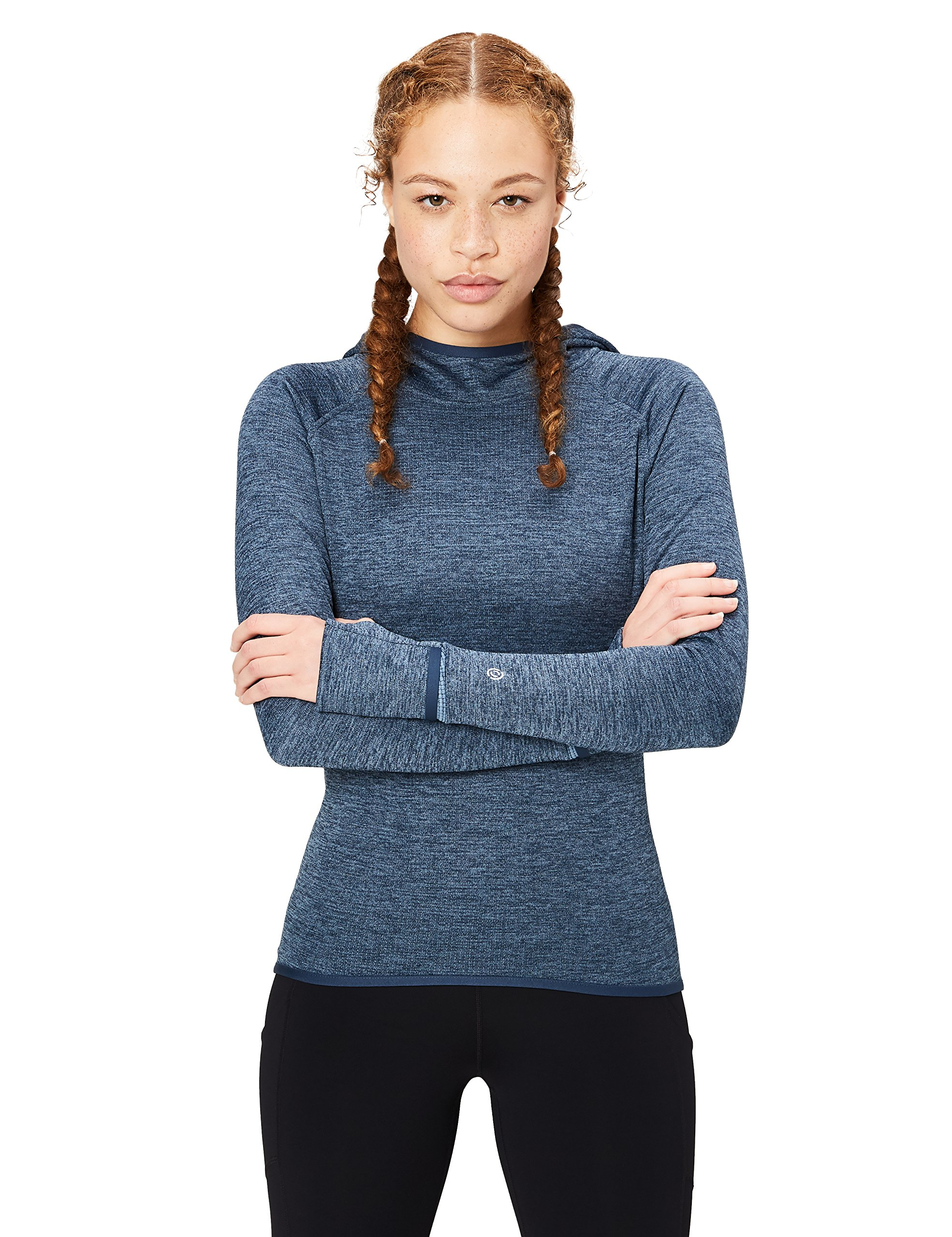 Core 10 Women's Be Warm Thermal Fitted Run Hoodie (XS-XL, Plus Size 1X-3X), Denim Heather, M (8-10)