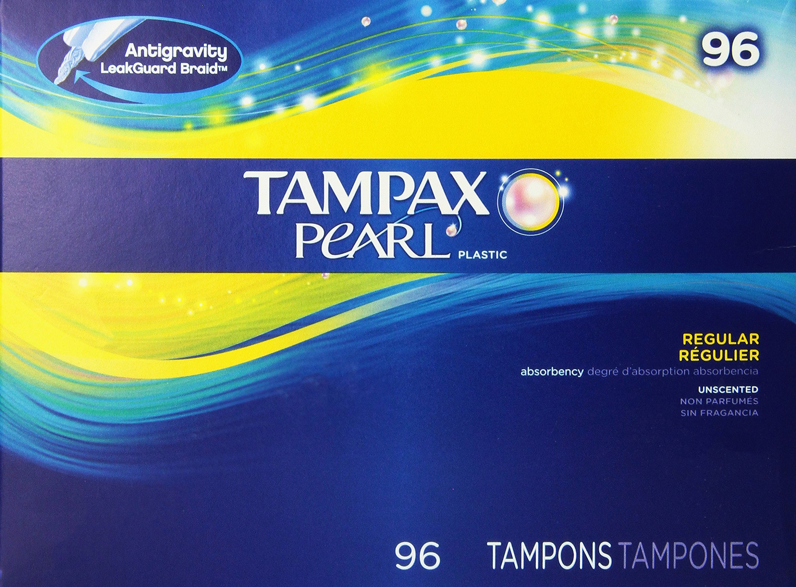 Tampax Pearl Regular Absorbency Unscented Tampons, 96 Count, Pack of 1 by Tampax