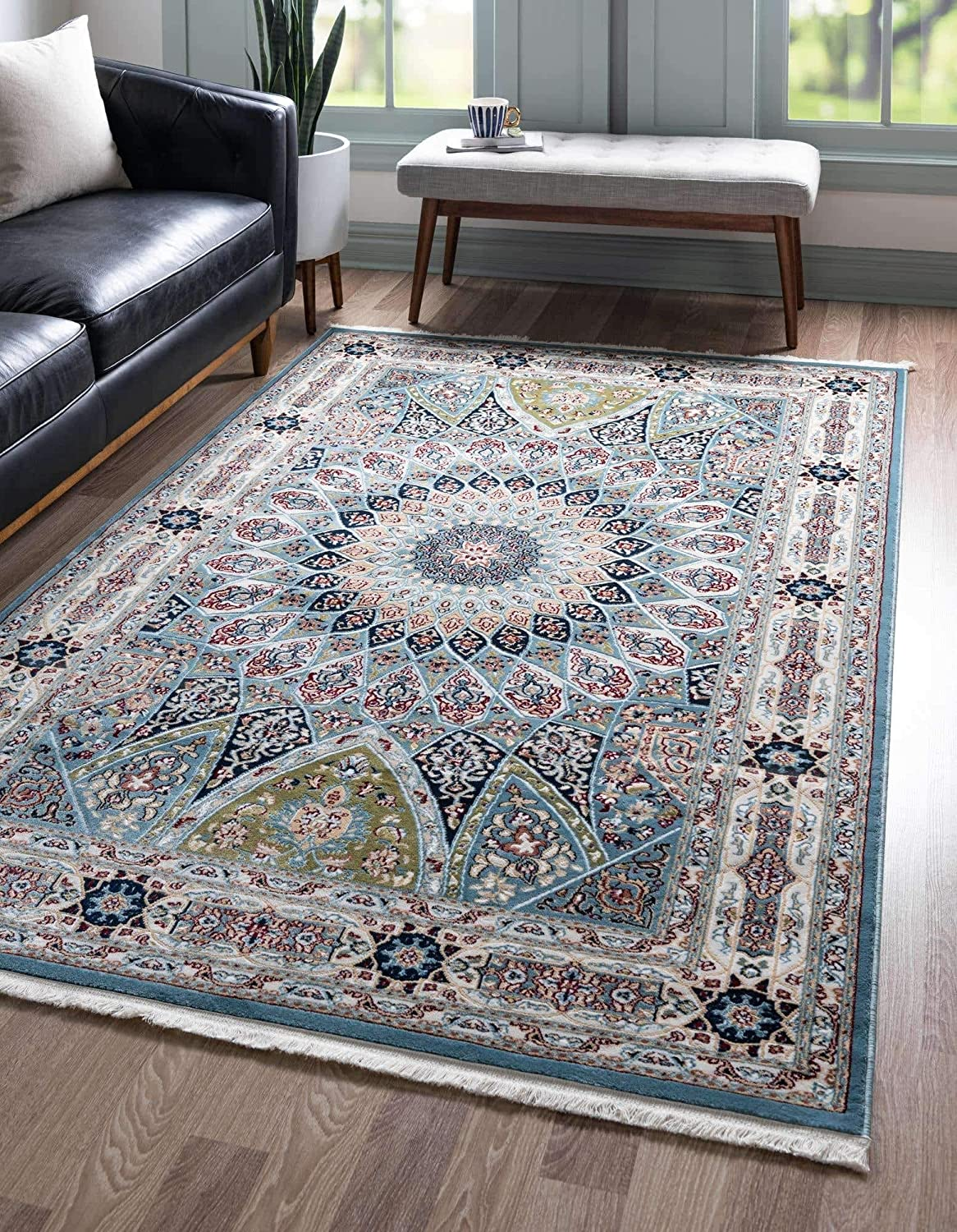 Unique Loom Narenj Collection Classic Traditional Medallion Textured Blue Area Rug (8' 0 x 10' 0)