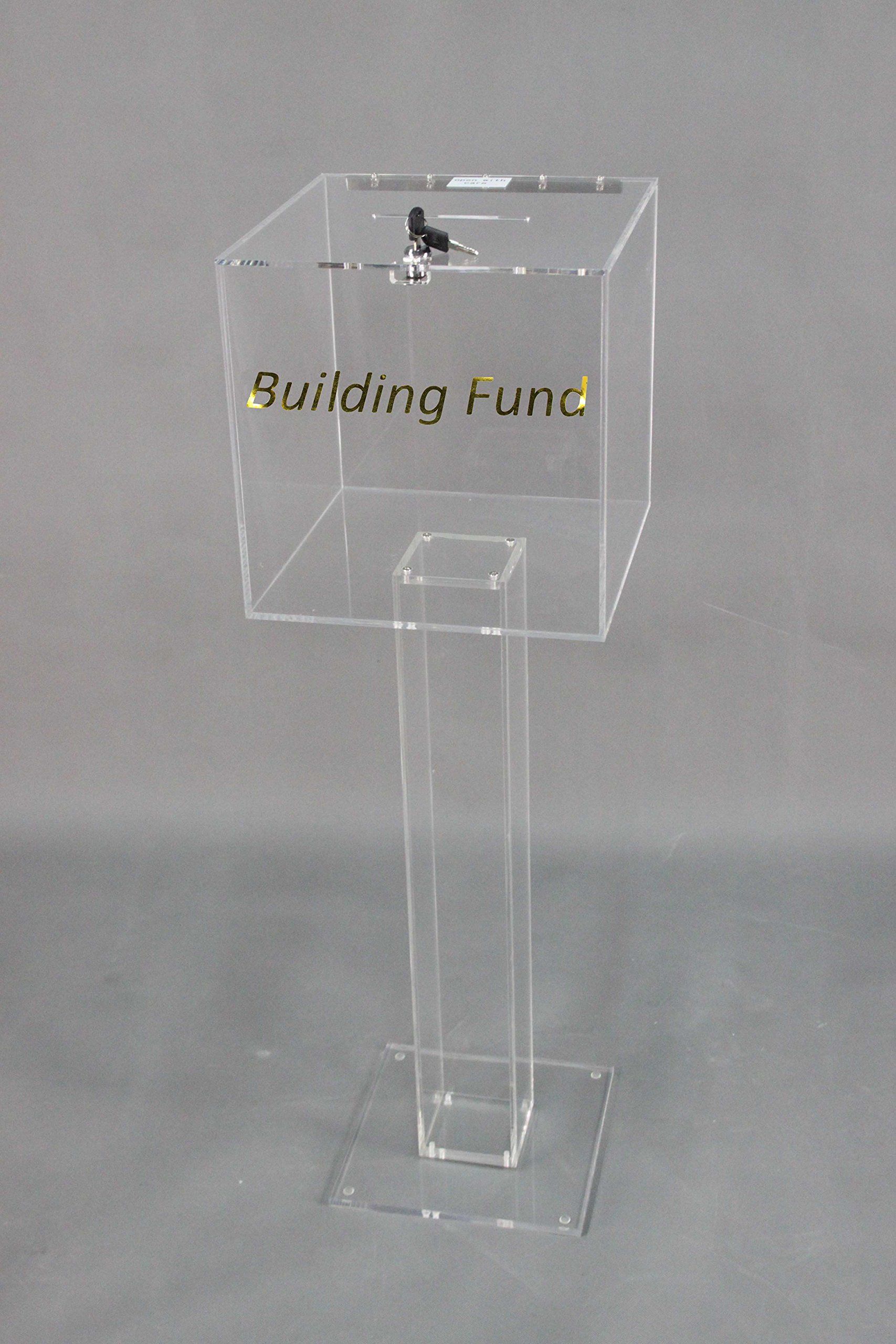 Fixture Displays Clear Plexiglass Large Floor Standing Tithing Box Offering Box Ballot Box Church Donation Box 14301