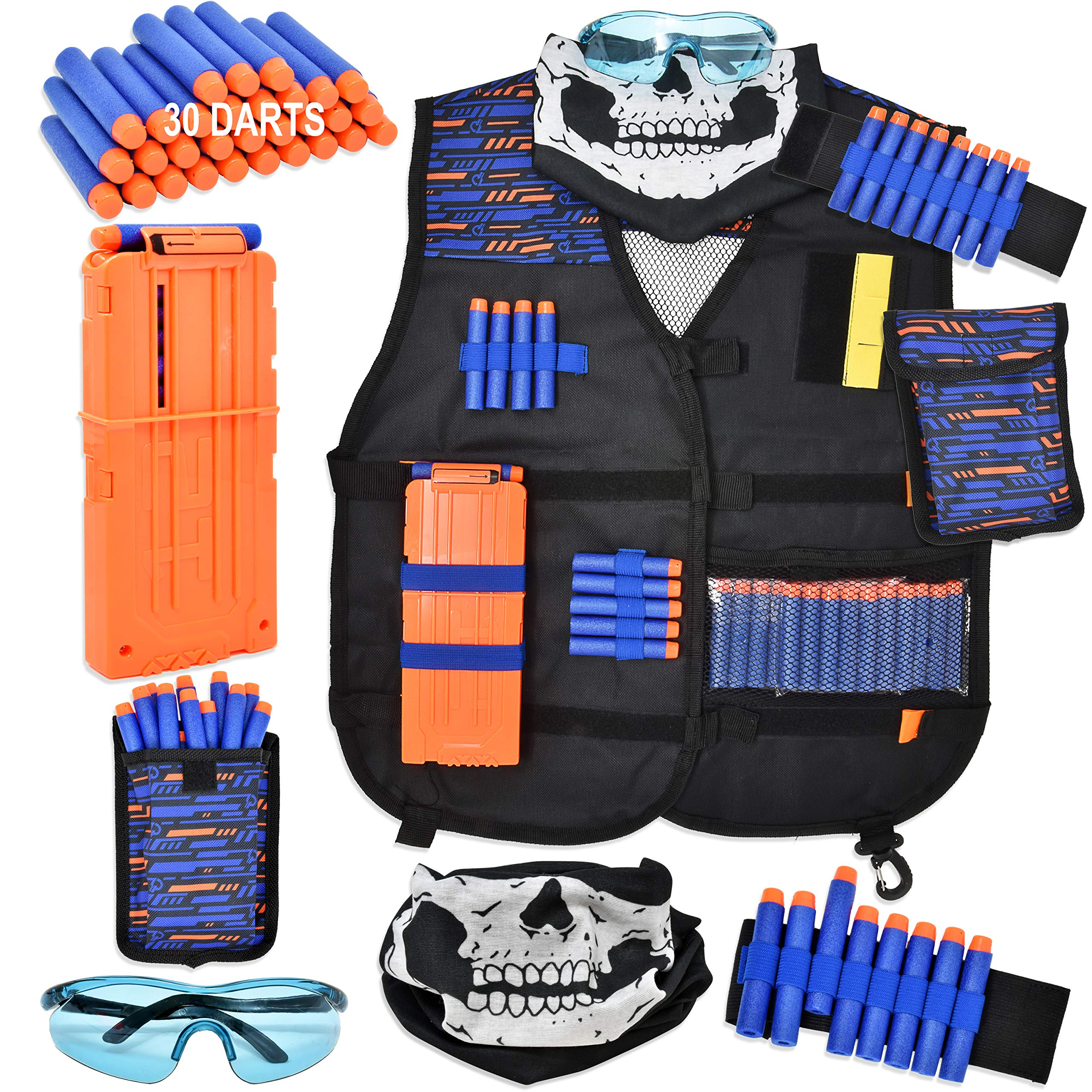 Gift Boutique Tactical Kids Vest Kit #1 Recommended for Nerf Guns N-Strike Elite Gear with Dart Pouch, Tactical Mask, Reload Clips, Protective Glasses, Wrist Band & 30 Refill Blaster Darts for Boys