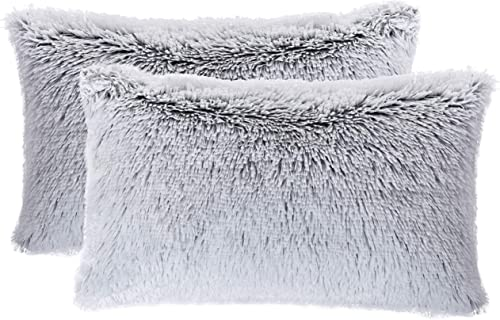 Cheer Collection Set of 2 Shaggy Long Hair Throw Pillows Super Soft and Plush Faux Fur Lumbar Accent Pillows – 12 x 20 inches, Gray