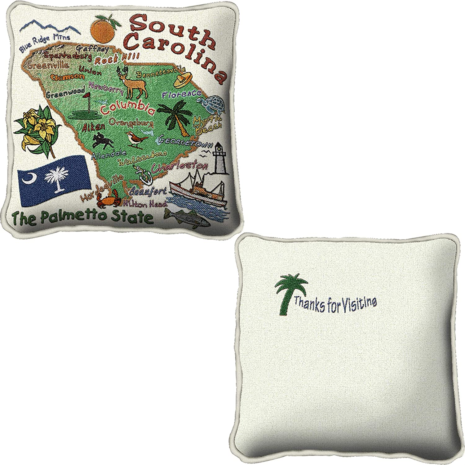 Hand Finished Pillow Cover Woven from Cotton Made in The USA Pure Country Weavers South Carolina 24x24