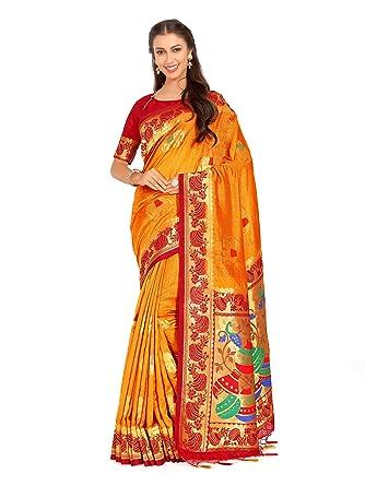 cbae233537dff Amazon.com  Mimosa Art Kuppdam Wedding Silk Saree Kanjivarm Style with  Contrast Blouse Color  Gold (4261-RPL-1-2D-MST-MRN)  Clothing