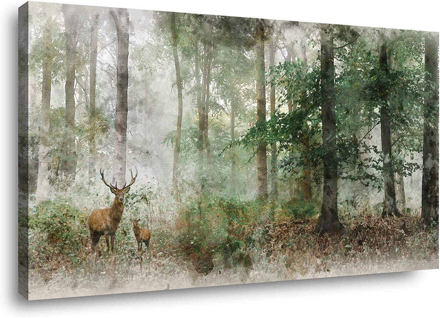 Canvas Wall Art for Living Room Paintings Wall Art Decor Bathroom Wall Art Bedroom Bathroom Pictures Wall Decor Art Prints Framed Kitchen Accessories Large Watercolor Fog Forest Deer Wall Art24