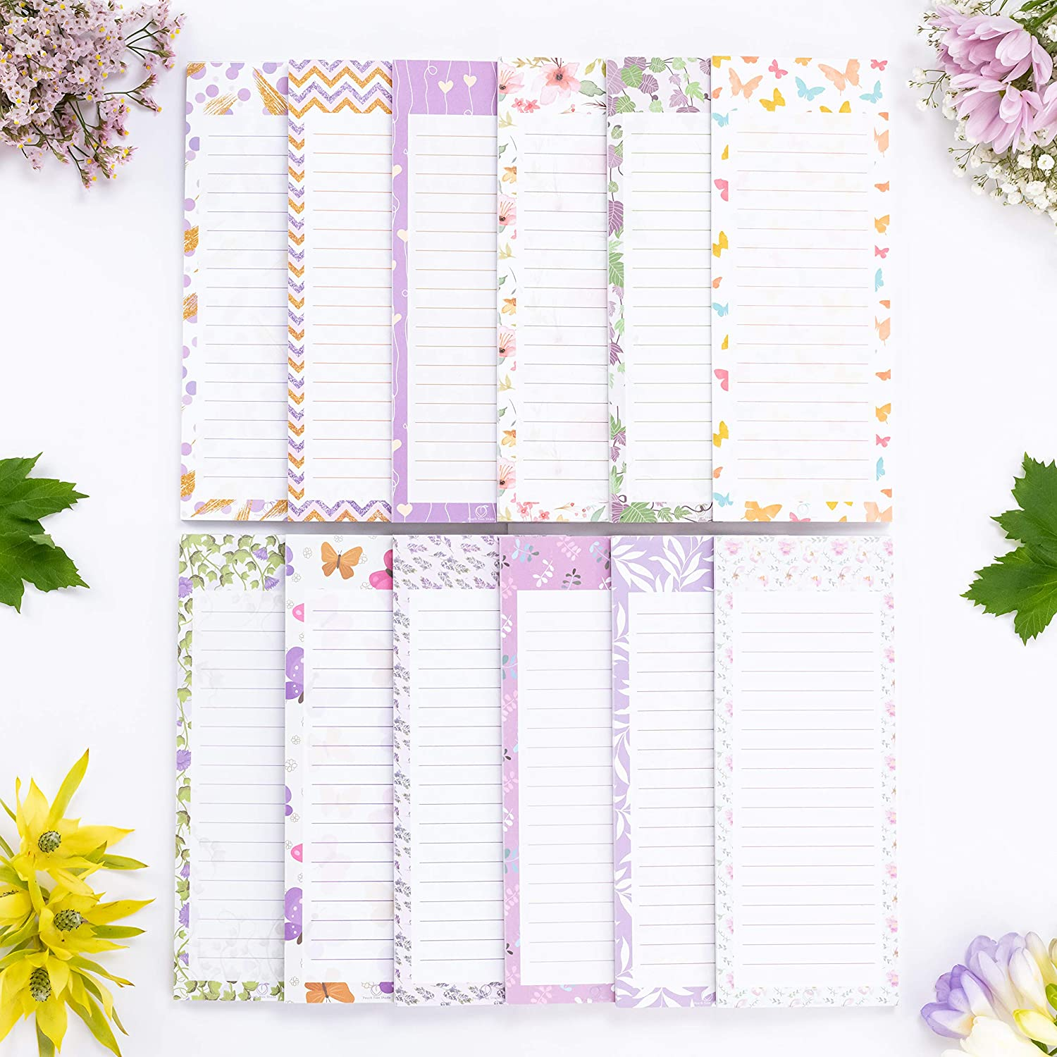 """Peach Tree Shade Magnetic Notepads, 12-Pack 60 Sheets Per Pad 3.5"""" x 9"""", for Fridge, Kitchen, Shopping, Grocery, To-Do List, Memo, Reminder, Note, Book, Stationery, (Ivynotes Garden & Forest)"""