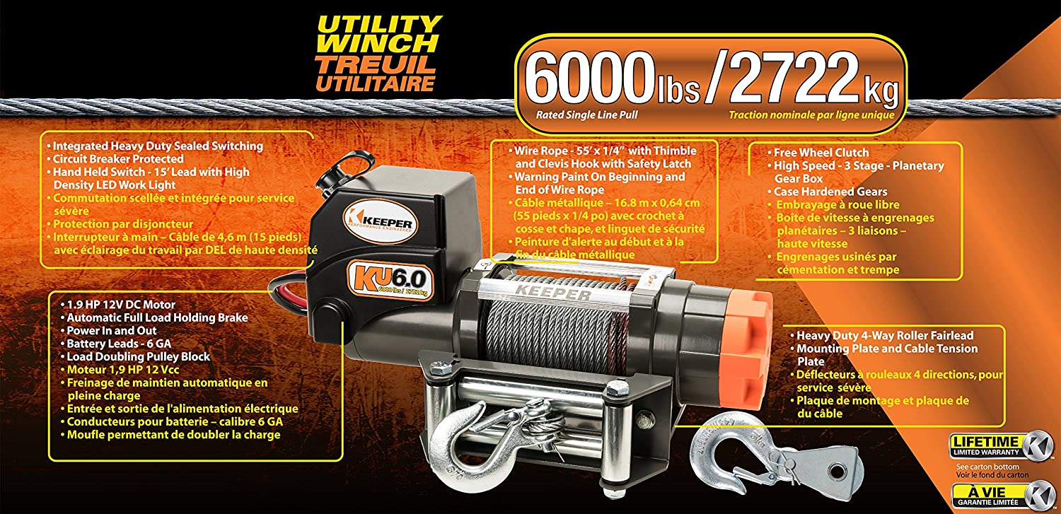 Keeper KU4.5 12V DC Utility Trailer and Recovery Winch 4500 lbs Capacity