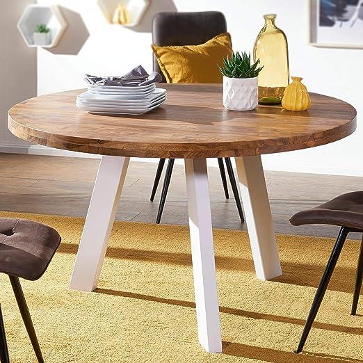 KS-Furniture WL5.652 - Mesa de Comedor Redonda (130 x 130 x 77 cm ...