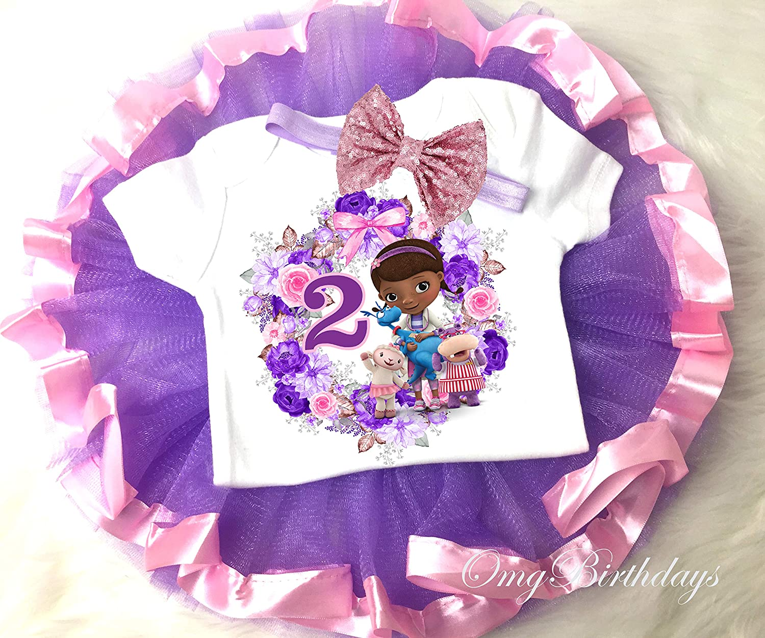 Pink Purple Minnie Mouse 2nd Second Birthday Girl Tutu Outfit Headband Set