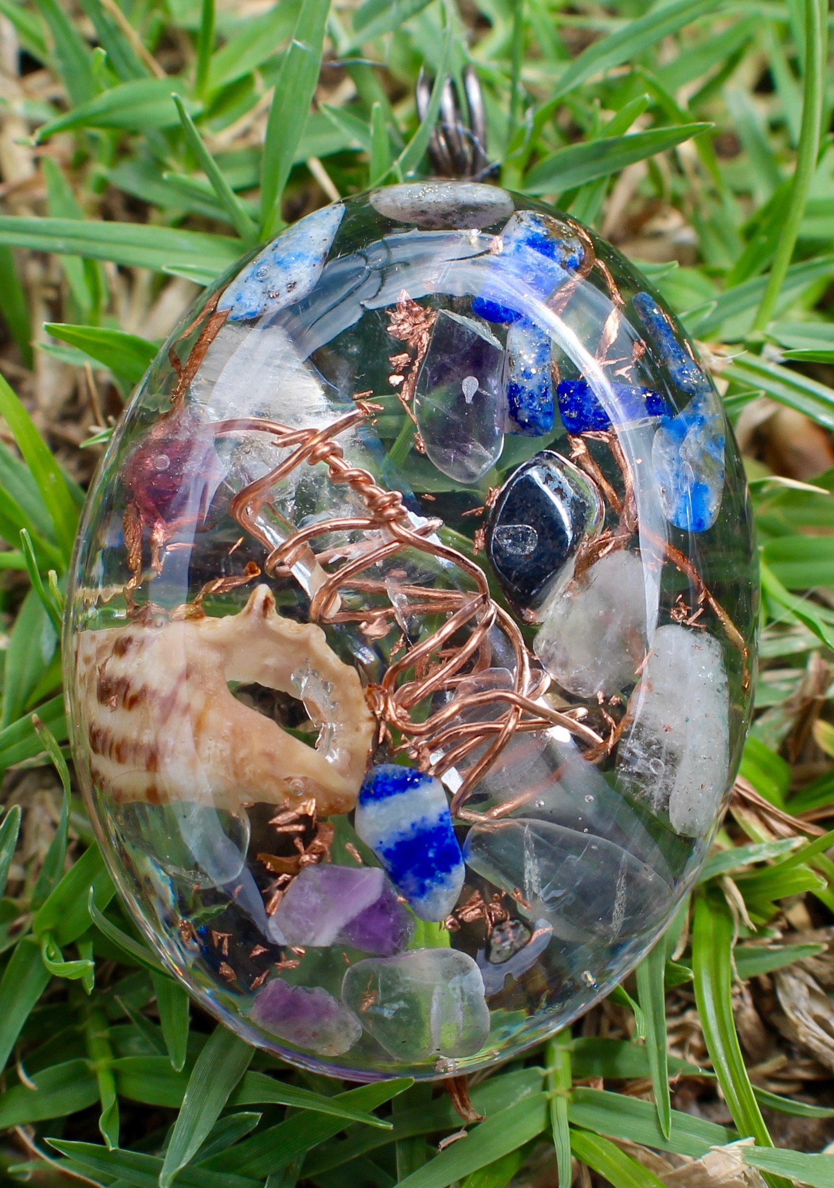 Hawaiian Healing Orgonite: Orgone Energy Pendants for Headaches and Migraines with Hematite, Lapis Lazuli, Aquamarine and Amethyst (Lg Oval)