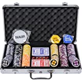 WPC Poker Chips Set - 300 Piece Numbered Poker Set (Free Accessories)