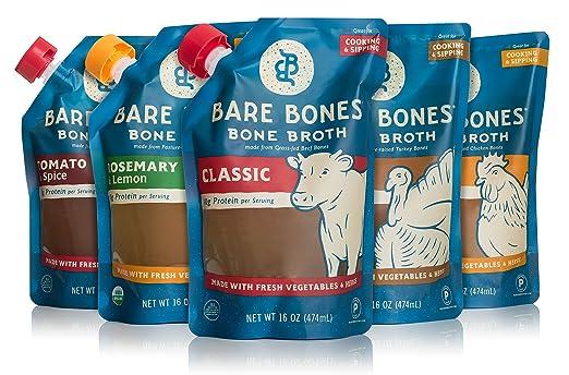 Bare Bones Broth Co. Organic Paleo Chicken Beef Turkey and Vegetable Bone Broth Sampler (5-Pack)