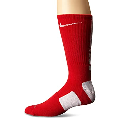 Nike Elite Basketball Crew Socks (LG (Men's Shoe 8-12, Women's Shoe 10-13), UNIVERSITY RED/WHITE/WHITE)