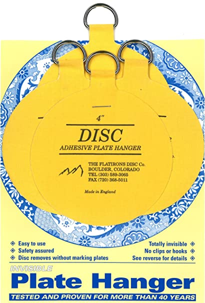 Flatirons Disc Adhesive Large Plate Hanger Set (4-4 Inch Hangers)  sc 1 st  Amazon.com : invisible english plate hanger - Pezcame.Com