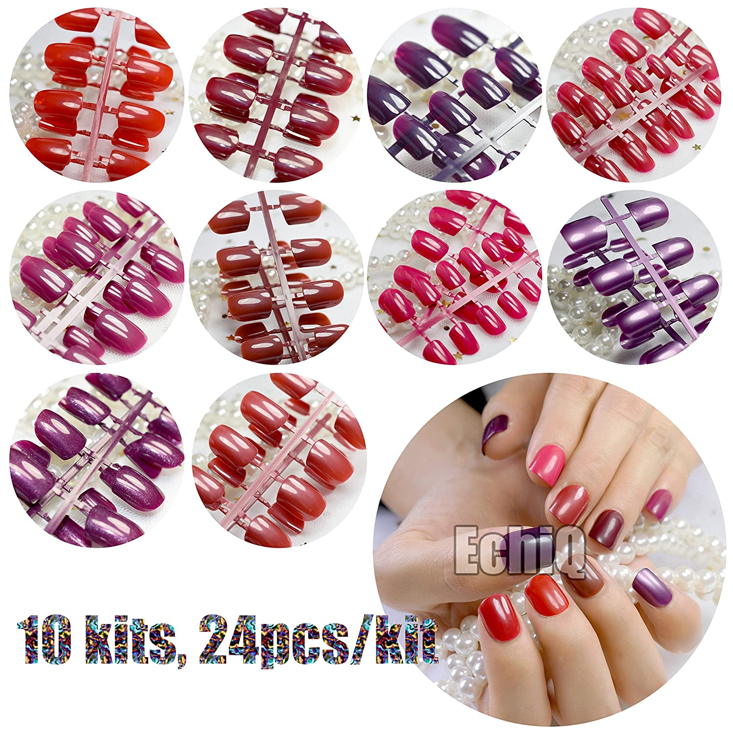Amazon.com : CoolNail 240pcs False Nails Tips Short Full Cover Fake Artificial Nails Pure Candy Color Manicure Nail Tips Brown Shimmer Purple Red 10 Colors ...