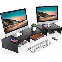FITUEYES Elevador de Soporte para Monitor Dual Soporte Madera Giratorio Longitud Ajustable Color Negro DT108001WB