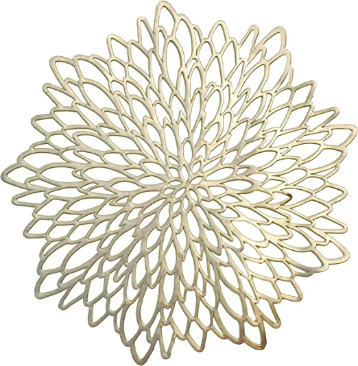 Amazon Com Occasions 120 Pieces Pack Pressed Vinyl Metallic Placemats Wedding Accent Centerpiece Placemat Round Gold Leaf Kitchen Dining
