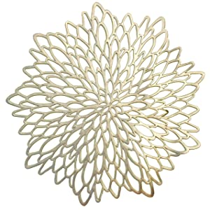 """"""" Occasions"""" 10 Pieces Pack Pressed Vinyl Metallic Placemats/Wedding Accent Centerpiece Placemat (Round Gold Leaf)"""