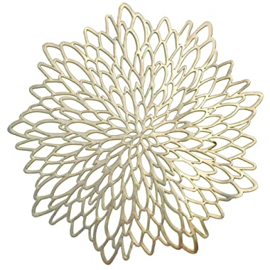 Occasions 10 Pack Pressed Vinyl Metallic Placemats/Charger/Wedding Accent Centerpiece (10 pcs, Round Gold Leaf)