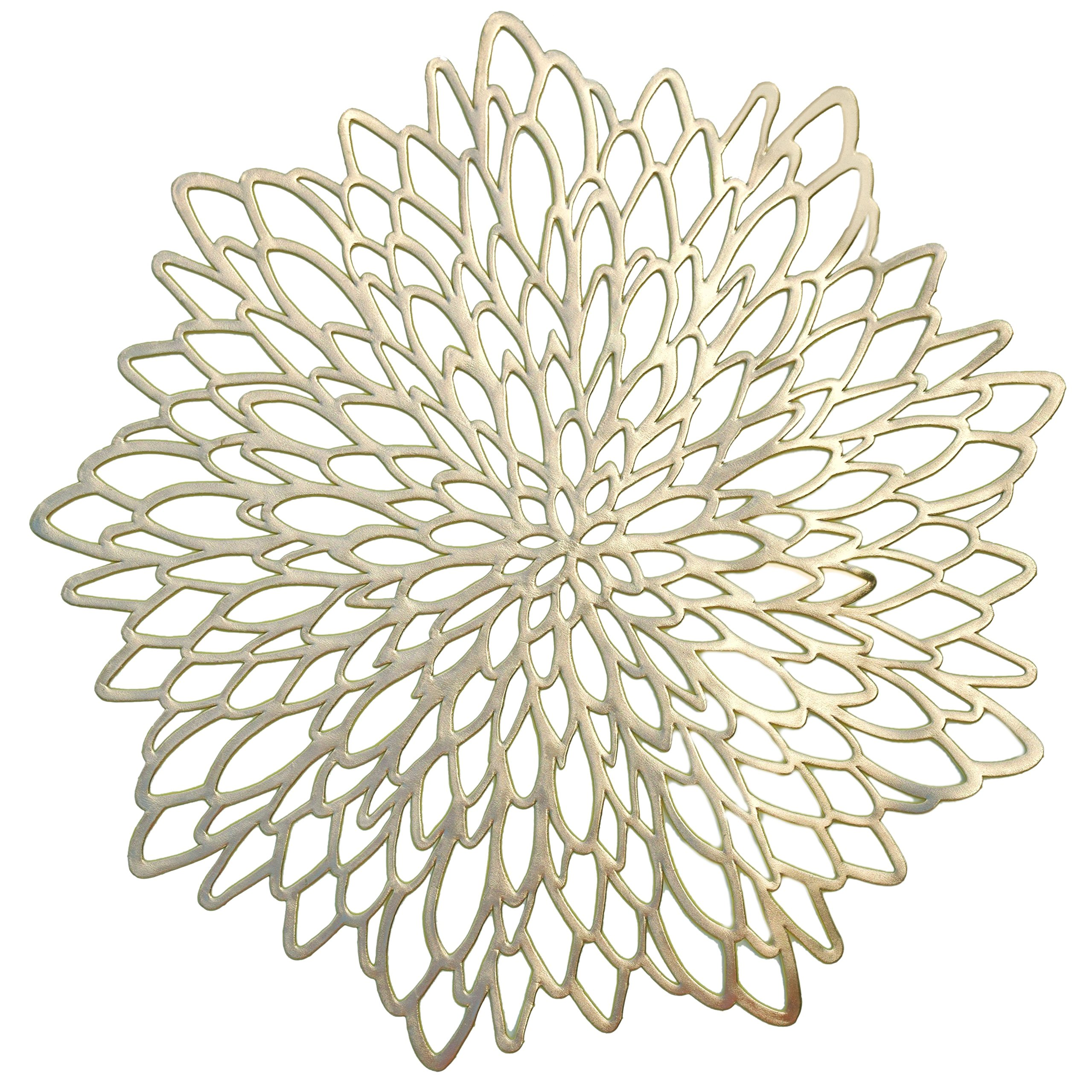 '' OCCASIONS'' 10 PACK Pressed Vinyl Metallic Placemats/Charger / Wedding Accent Centerpiece (10 pcs, Round Gold Leaf)