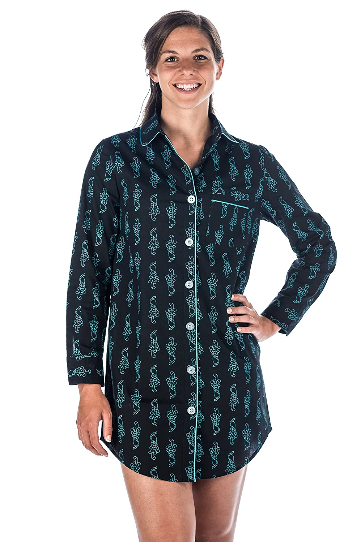 Noble Mount Womens Premium 100% Cotton Poplin Long Sleeve Sleep Shirt