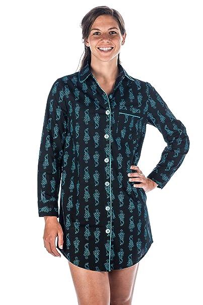 98c07c5707 Noble Mount Womens Premium 100% Cotton Poplin Long Sleeve Sleep Shirt at  Amazon Women s Clothing store