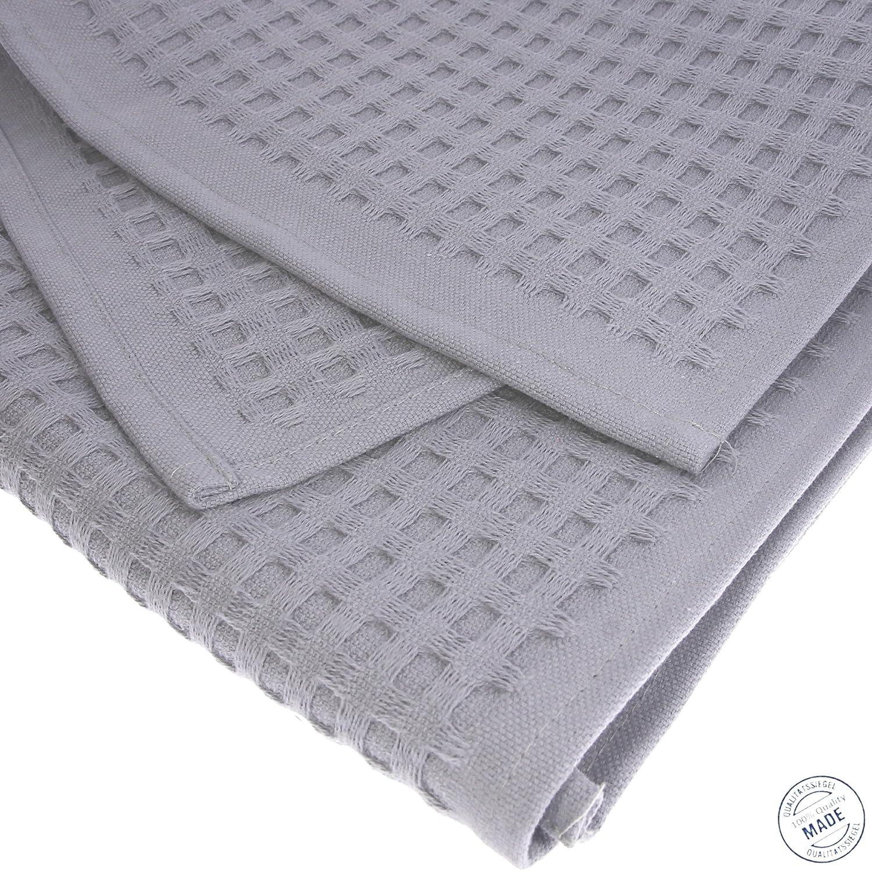 4x Handtuch Gästetuch in Waffelpique 100 x50 cm aus Baumwolle Wabengewebe grau